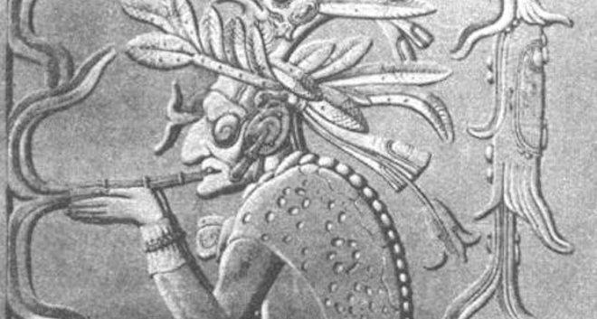 Art featuring a mayan smoking a cigar is part of the history of cigars