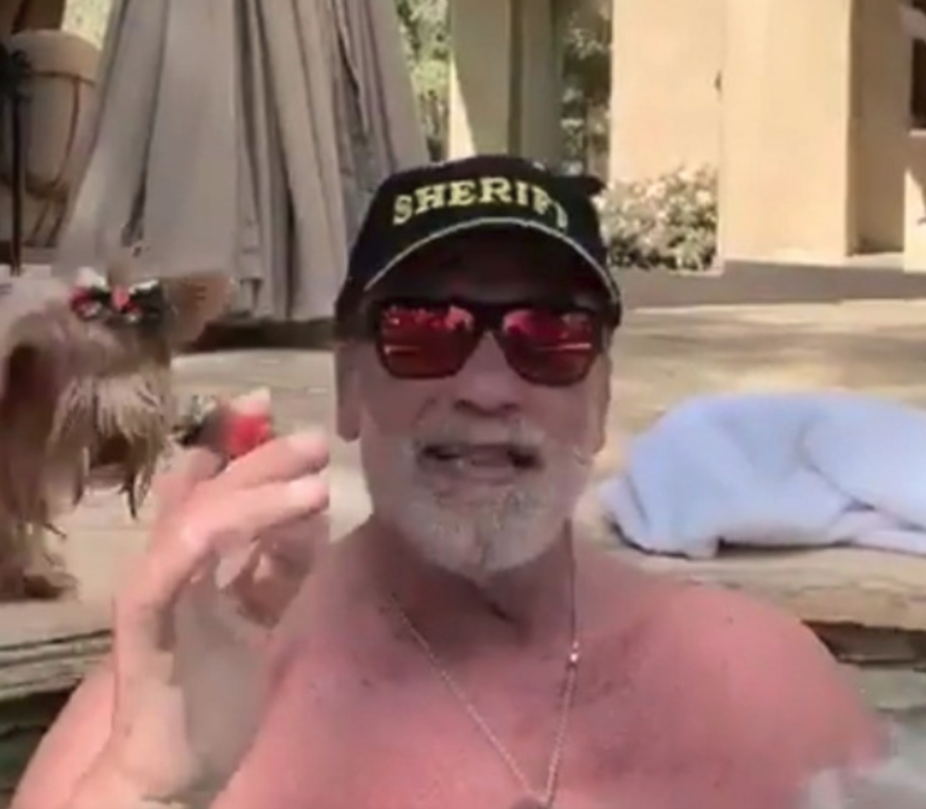Arnold Schwarzenegger makes social distancing easy with a good cigar.