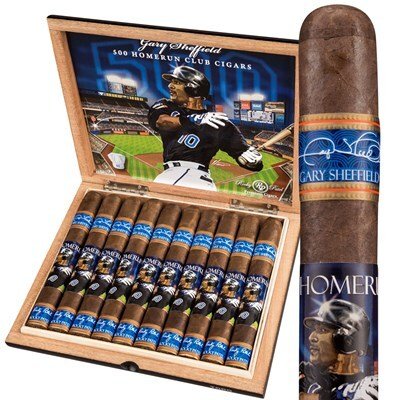A box of Rocky Patel 500 Homerun Club cigars featuring an image of former MLB player, Gary Sheffield.