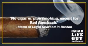 The Menu at Legal Seafood in Boston on cigars vs. Red Auerbach