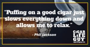 Phil Jackson on smoking cigars