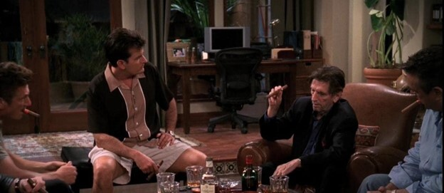A cigar party pictured on Two and a Half Men.
